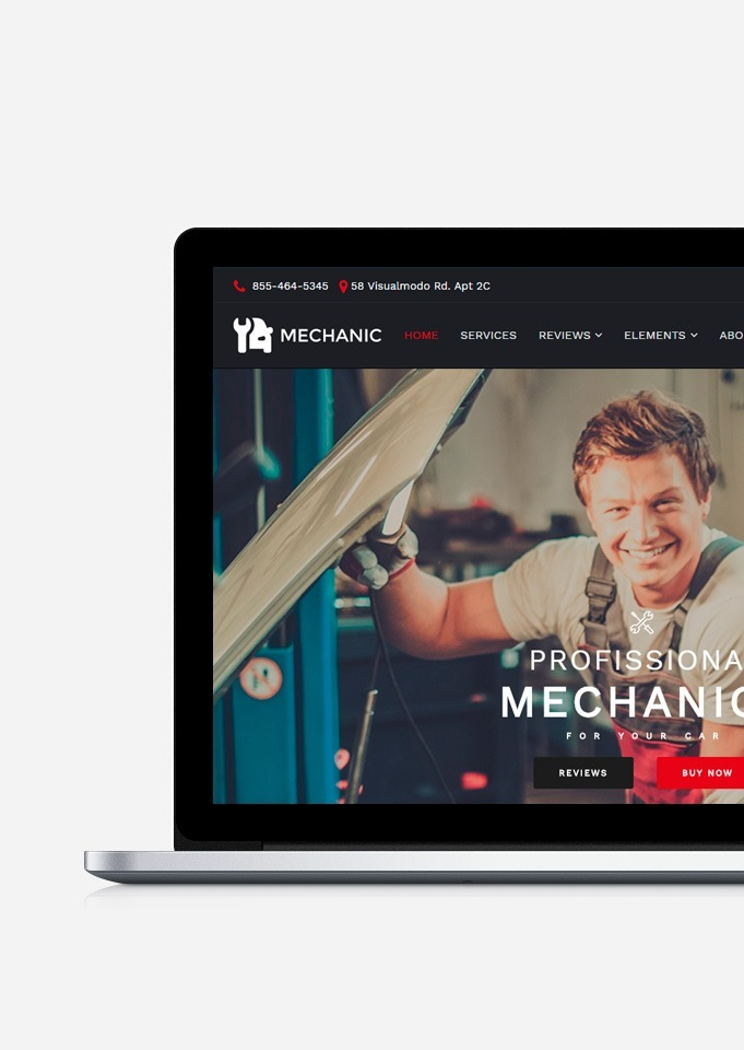 Mechanic WordPress Theme - Site Builder build by Visualmodo - Car Service Template