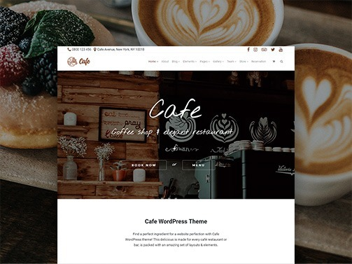 Cafe WordPress Theme – Responsive Coffee Shop Site Builder