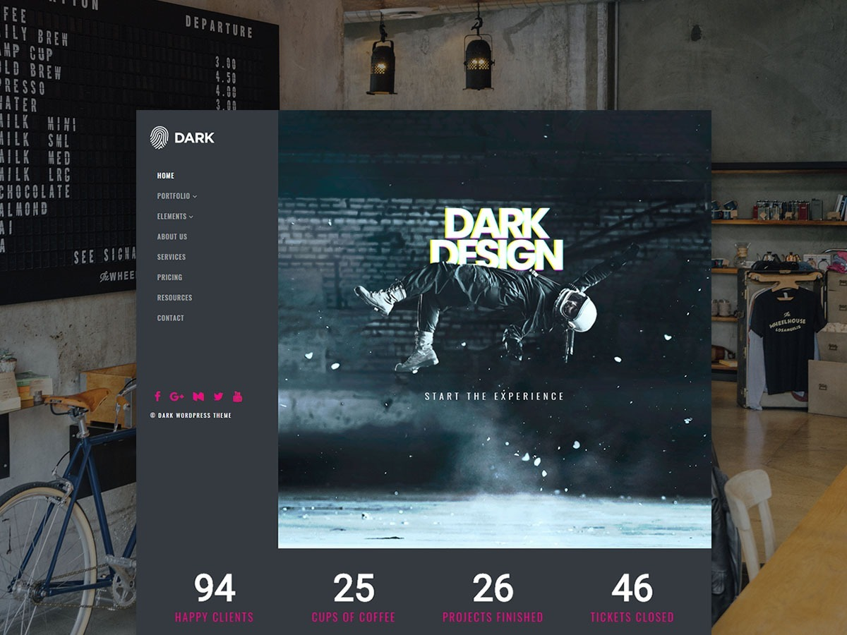 Dark WordPress Theme – Live Website Builder