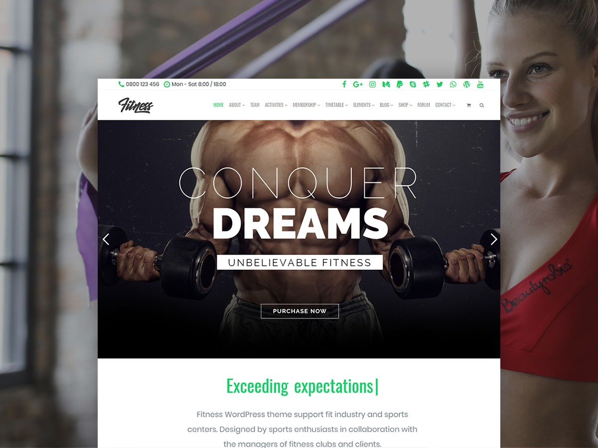 Fitness WordPress Theme – Health Responsive Template