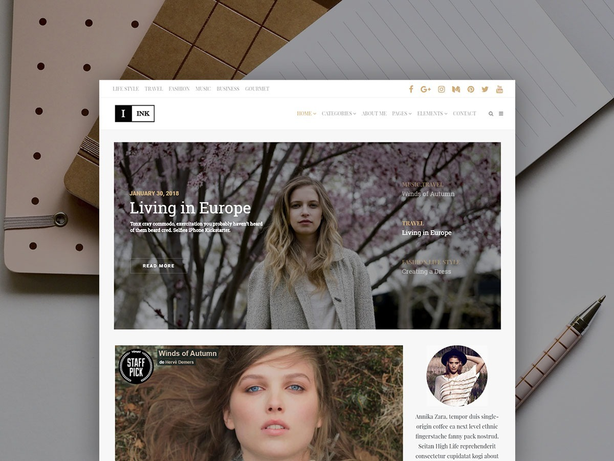 Ink WordPress Theme – Blog Minimalist Magazine Responsive Template