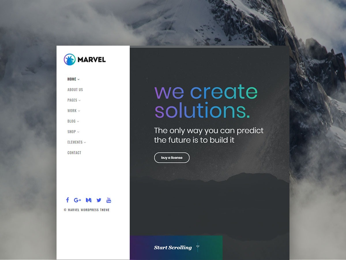 Marvel WordPress Theme – Vertical Navigation Menu Template