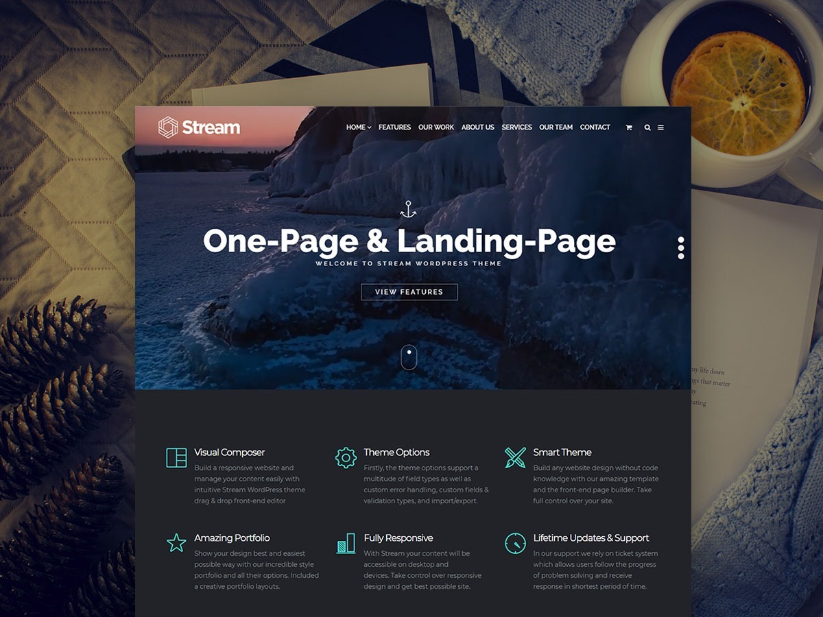 Stream WordPress Theme – One-Page and Mobile-Friendly Landing Page Template