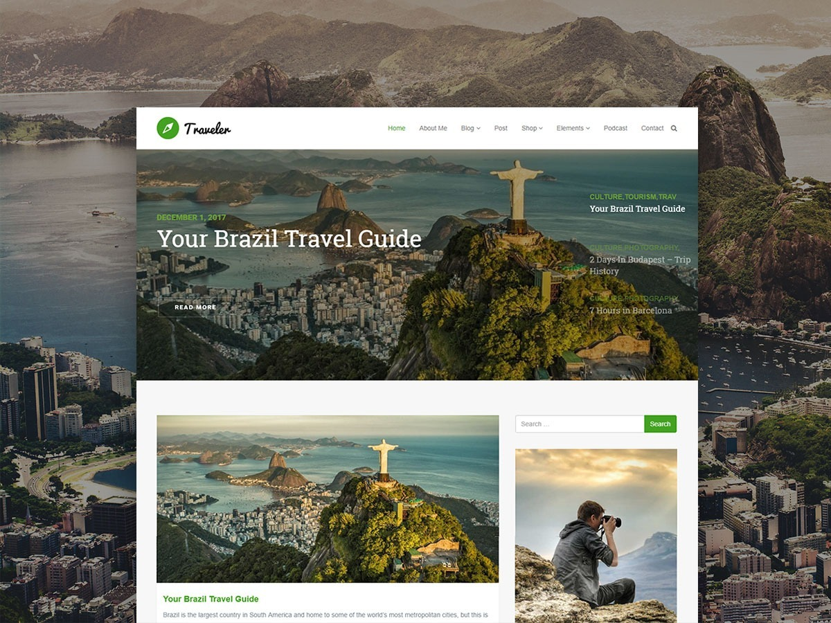 Traveler WordPress Theme – Responsive Blog WordPress Template